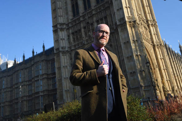 Paul Nuttall outside Westminster Palace