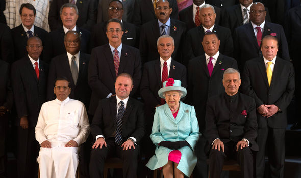 The Queen with Commonwealth leaders