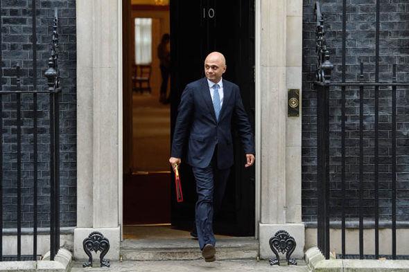Sajid Javid walking out of Cabinet meeting
