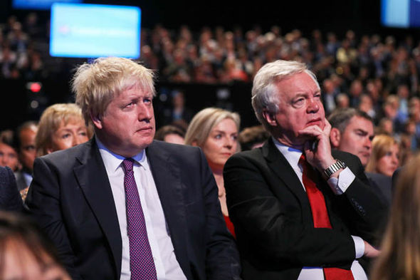 Tory party chaos: Johnson and Davis  Tory party week of CHAOS: Boris senses Theresa May is 'wounded animal' as Trump takes aim   Politics   News Tory party chaos 1419464
