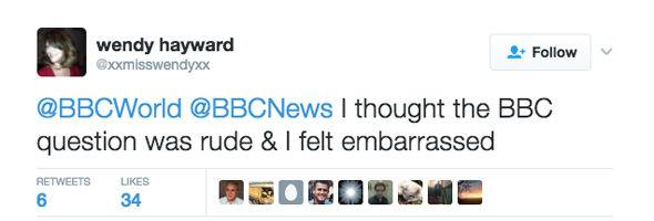 Wendy Hayward tweeted she was