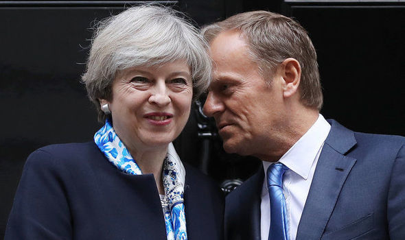 Donald Tusk met Theresa May at Downing Street