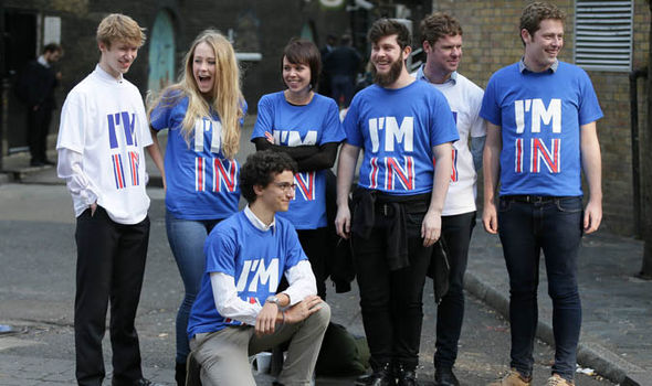 Young volunteers at the launch of the Britain Stronger in Europe campaign