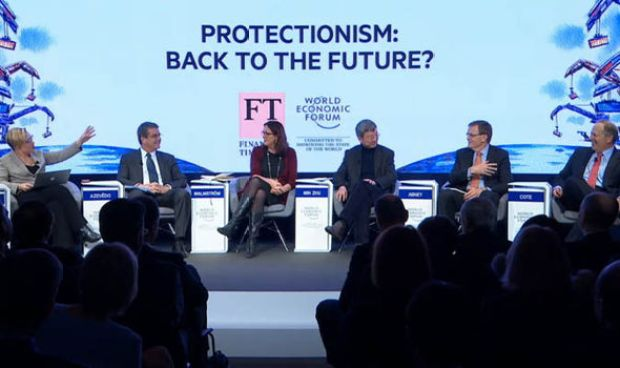 A discussion panel at the World Economic Forum in Davos