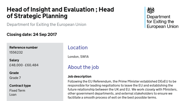The new strategy is revealed in a DExEU job advert