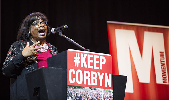 Labour's Diane Abbott speaks at Momentum rally