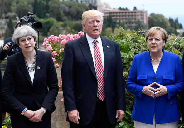 Theresa May, Donald Trump and Angela Merkel at G7 summit
