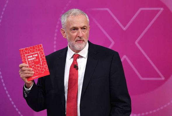 Jeremy Corbyn holding manifesto