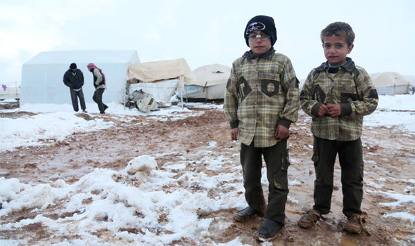 Syrian children in a refugee camp near Aleppo