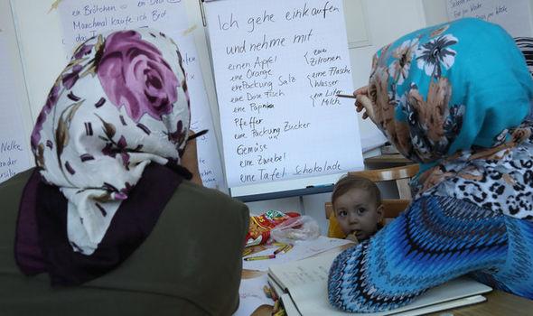Refugee women learning Germany