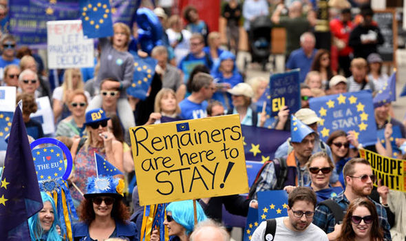 Remainers marching against Brexit