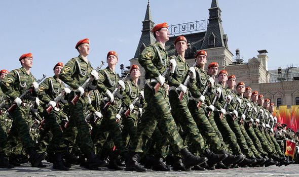 Russian troops march in Red Square Moscow