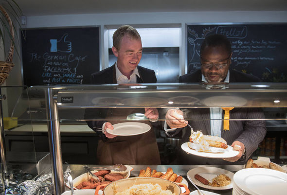 Mr Farron enjoyed breakfast at a Solihull cafe that specialises in German sausage
