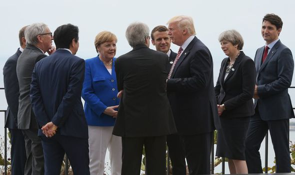 Donald Trump with leaders at the G7 summit