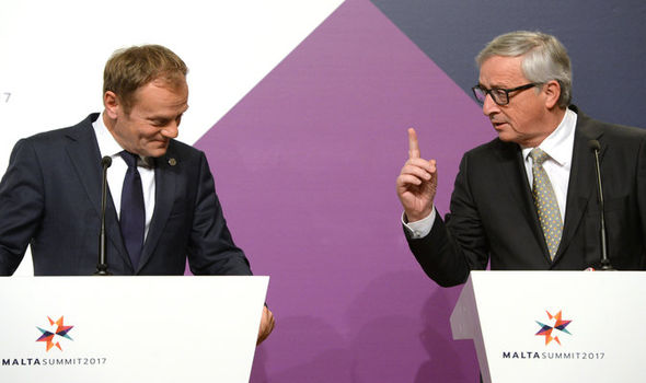 Chief eurocrats Donald Tusk and Jean-Claude Juncker
