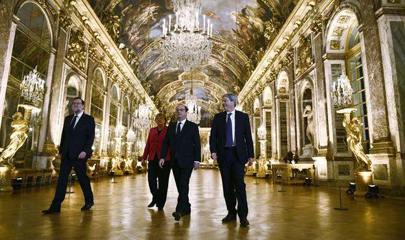 Spanish Prime Minister Mariano Rajoy, German Chancellor Angela Merkel, French President Francois Hollande and Italian Premier Paolo Gentiloni