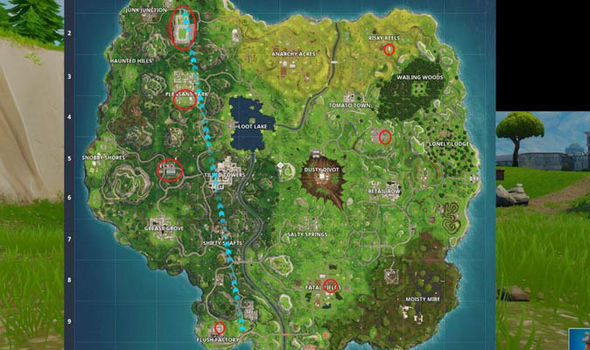 Fortnite soccer field locations on the map