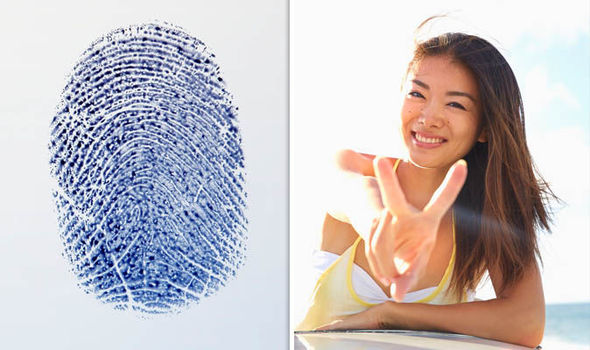 Fingerprint and a Japanese person doing the peace