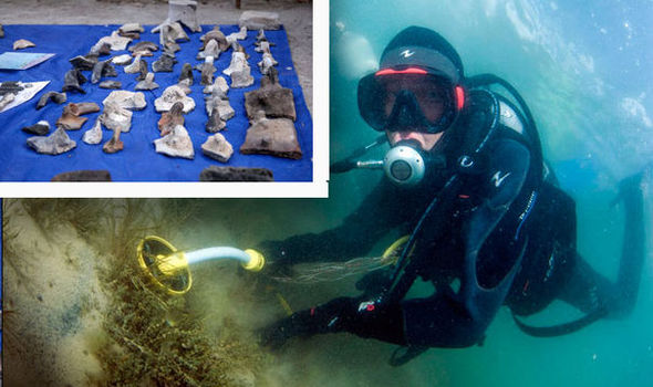 Divers in the lake, and (inset) some of the relics