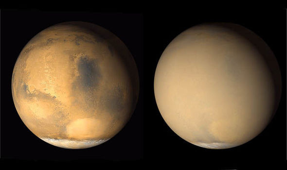 NASA Mars dust storm pictures Red Planet photos