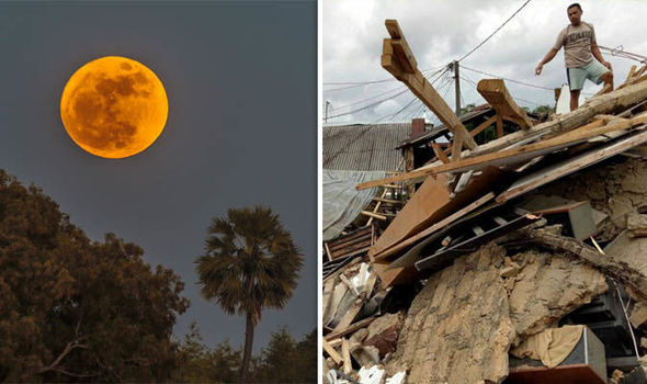 Supermoon, people standing in earthquake aftermath  Blue Moon eclipse: Is the Super Blue Blood Moon to blame for earthquakes? | Science | News Supermoon in Thailand earthquake in Bogor Indonesia 910100