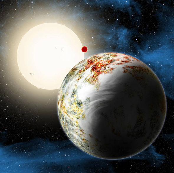 Kepler-10 system, home to two rocky planets. In the foreground is Kepler-10c, a planet that weighs 17 times as much as Earth