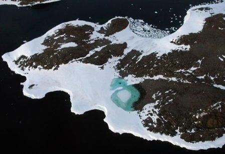 Antarctica ice sheet: Meltwater lake on Antarctica