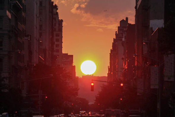 Manhattanhenge sunset in New York City