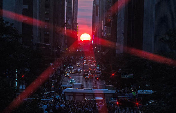 Manhattanhenge sunset in New York