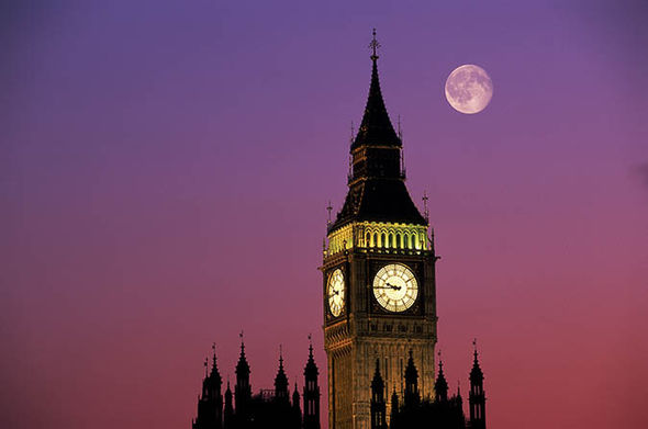 Pink moon over Big Ben and parliament