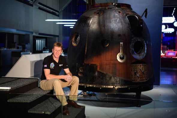 Tim Peake with the Soyuz TMA-19M spacecraft