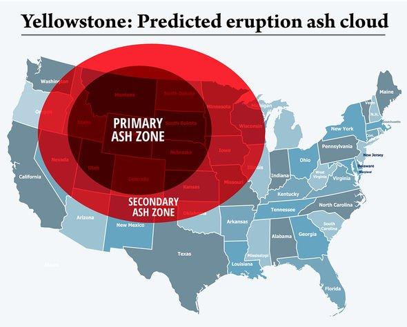 Yellowstone volcano ash cloud prediction mapped