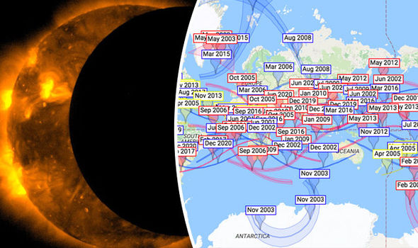 Eclipse 2017 map  Map of EVERY solar eclipse across the world in     Google Hermit Eclipse