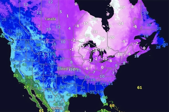 How cold is it in the USA right now  Weather map shows big freeze     How cold is it in the USA now