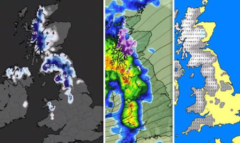 UK snow map  Where is it snowing now in the UK  Latest maps and     snow forecast UK