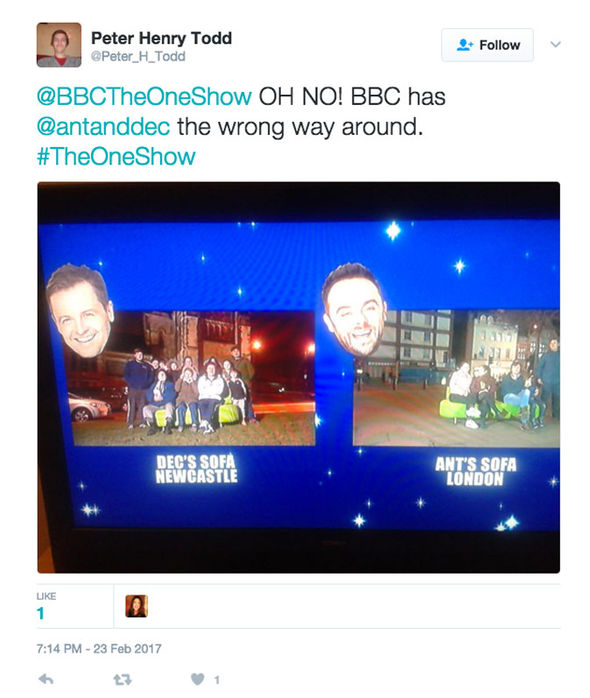 Ant and Dec The One Show Saturday Night Takeaway