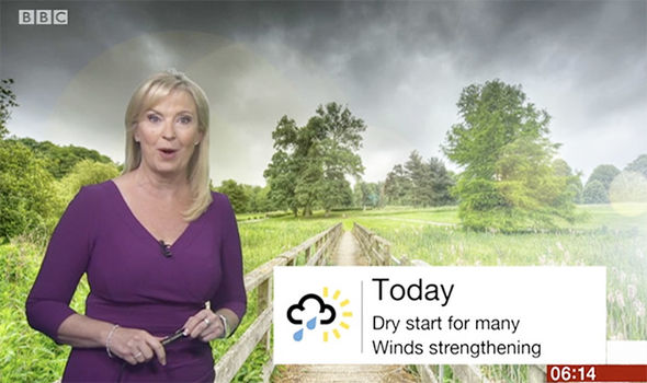 BBC weather forecast: Carol Kirkwood issues warning as 60mph GAIL force winds