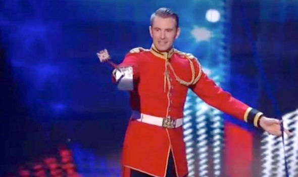 Richard spears the right card on his sword on Britain's Got Talent