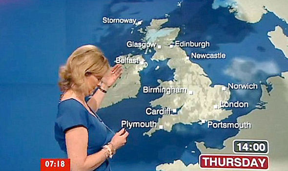 Carol Kirkwood suffers a wardrobe malfunction on BBC Breakfast