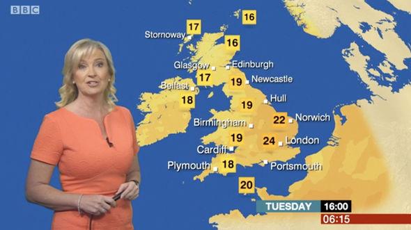 Carol Kirkwood said it will be slightly warmer