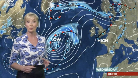 Carol Kirkwood told viewers it will mostly dry