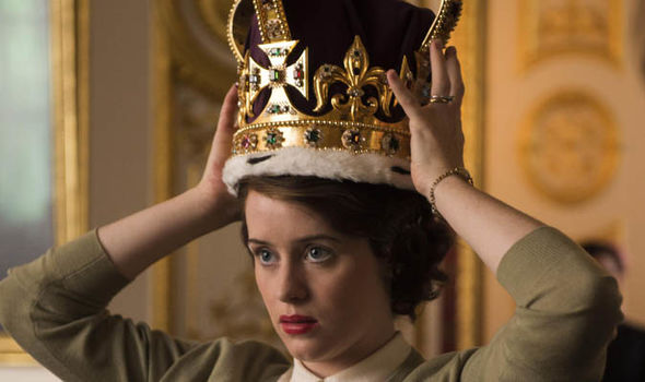 Claire Foy tries on a crown in series The Crown