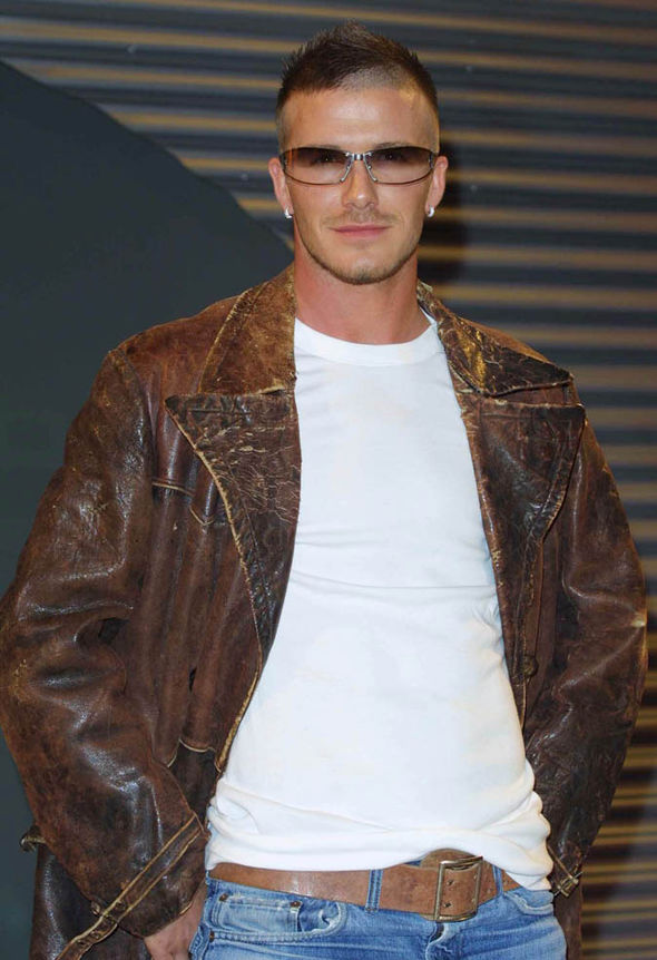 David Beckham in a leather jacket