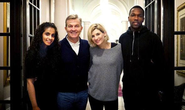The Doctor's new companions: Bradley Walsh, Mandip Gill and Tosin Cole