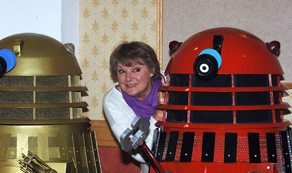 Doctor Who star Anneke Wills with some Daleks