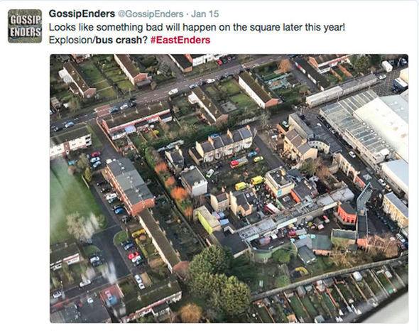 EastEnders Bus crash aerial photo