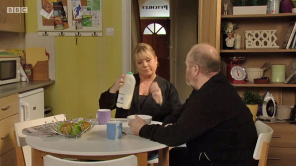 EastEnders Sharon serves Phil a BOWL OF MILK for breakfast