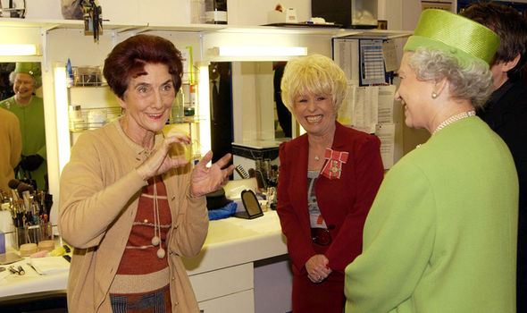 June Brown on set with Dame Barbara Windsor and the Queen