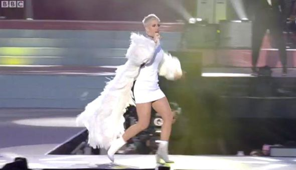 Katy Perry running across the stage