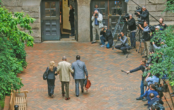 Media outside the courthouse for Bill Cosby's trial